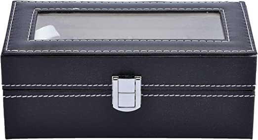 Mens Watch Case Small 4 Watch Box Black Leather Display Glass Top Jewelry Case Organizer Amazon Ca Watches