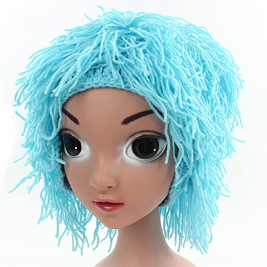 ad3f1465bf8 Amazon.com  Qhome Novelty Wig Hats Handmade Knitted Warm Winter Caps ...