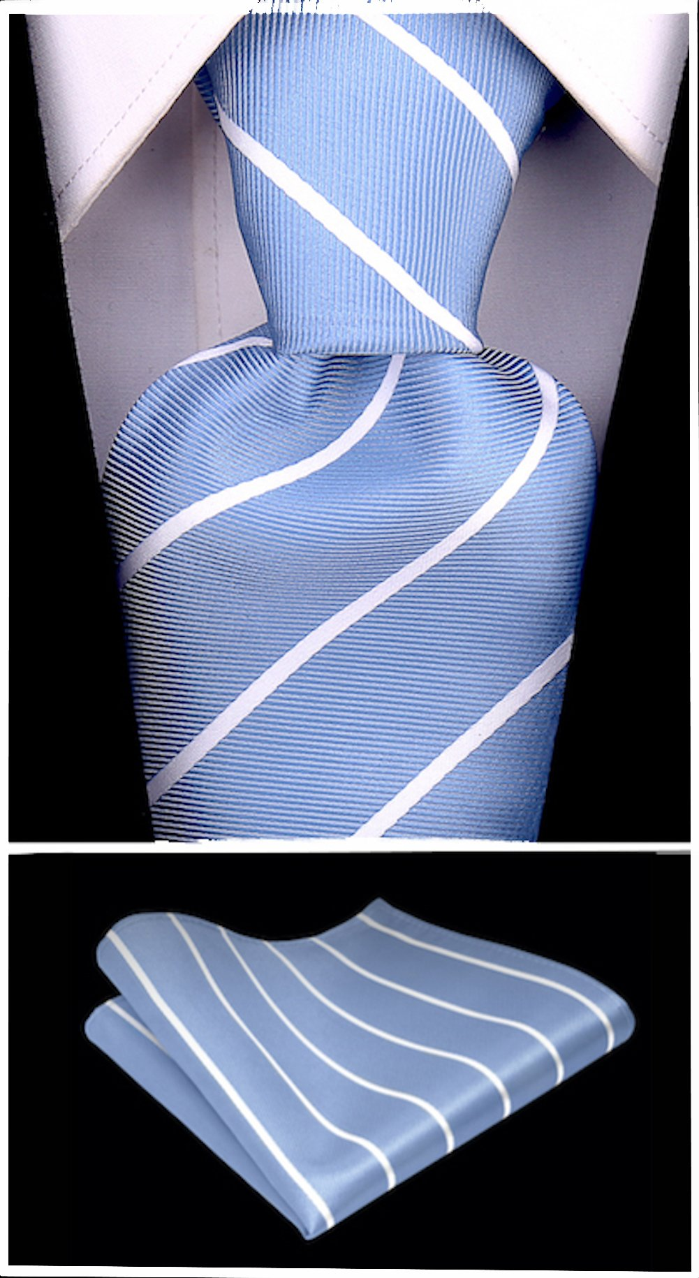 Pencil Stripe Ties for Men - Woven Necktie - Blue w/White