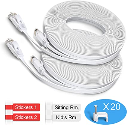 50FT Feet CAT6 CAT 6 RJ45 Ethernet Network LAN Patch Cable Cord White lot YL