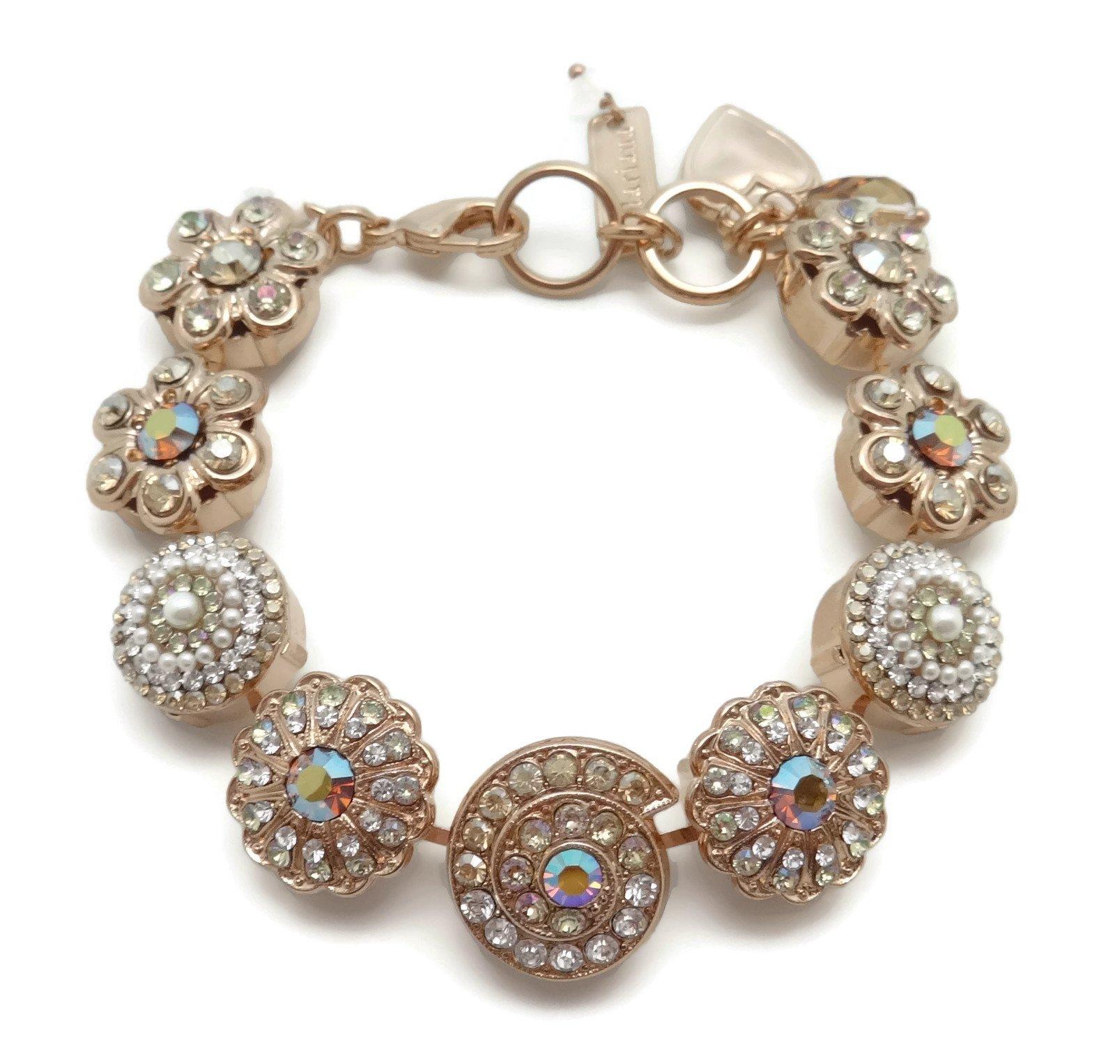 Mariana Rose Gold Plated Swarovski Crystal Mosaic Bracelet 1093 Odyssey Aurora