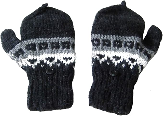 Alpakaandmore Unisex Child 100/% Natural Alpaca Wool Fingerless Mittens with Cap Black