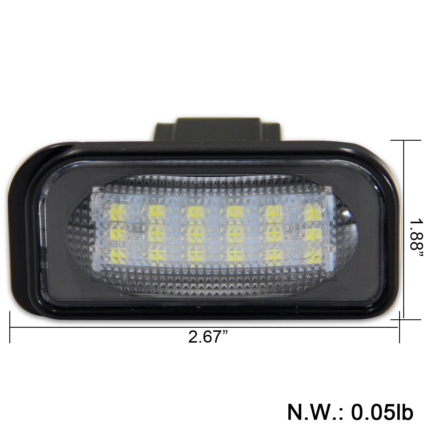 W211 W219 2 Pieces Win Power Error Free 18 SMD LED Number Licence Plate Light Assembly Cool White Lamps Bulb 6000K for W203 5D R171