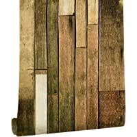 """HaokHome 18083 Barnwood Wallpaper Peel and Stick Wood Wall paper Self Adhesive 17.7"""" x 19.6ft Pale Green/Brown/White Contact Paper"""