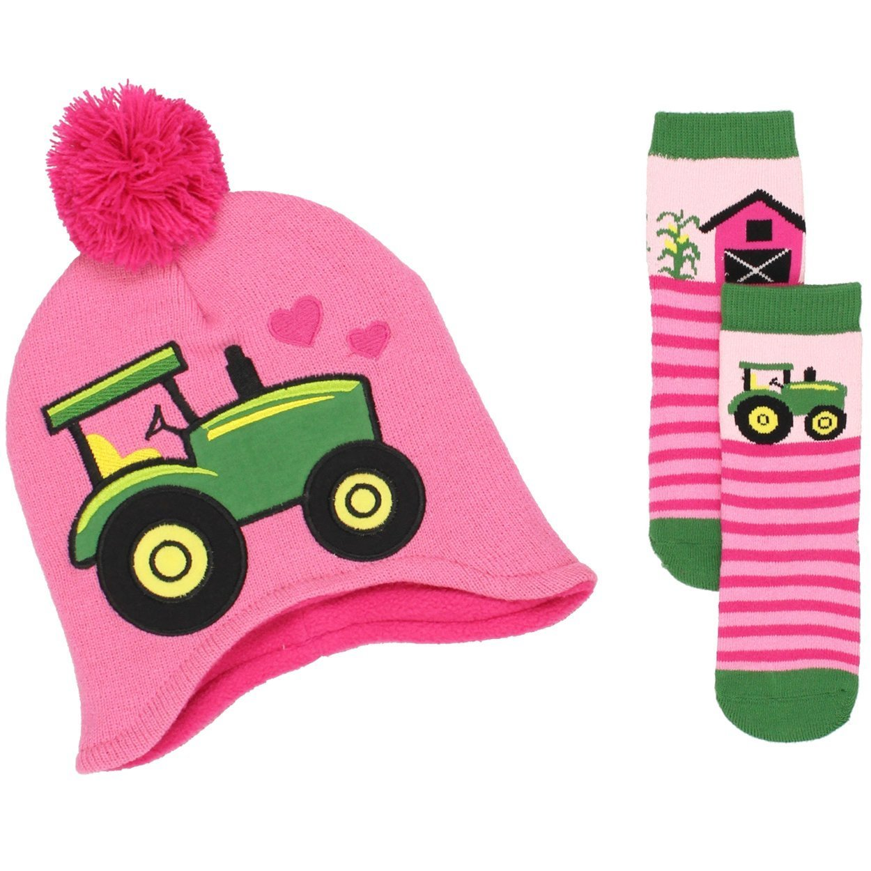 John Deere Girls Beanie Hat and Socks Set (Toddler/Little Kid) Tractor Pink) Yankee Toy Box