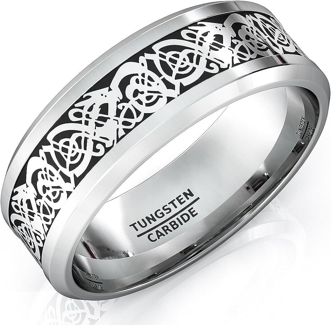 Duke Collections Mens Wedding Bands Tungsten Ring High Polished Celtic Dragon Design Beveled Edge 8mm Comfort Fit