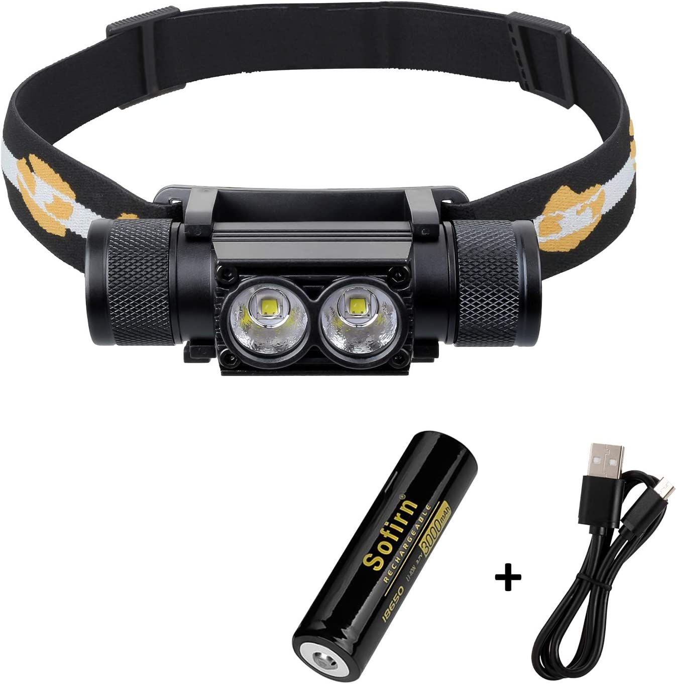 Sofirn SP40 Headlamp LED Cree XPL 18650 USB Rechargeable Head lamp 1200lm Bright