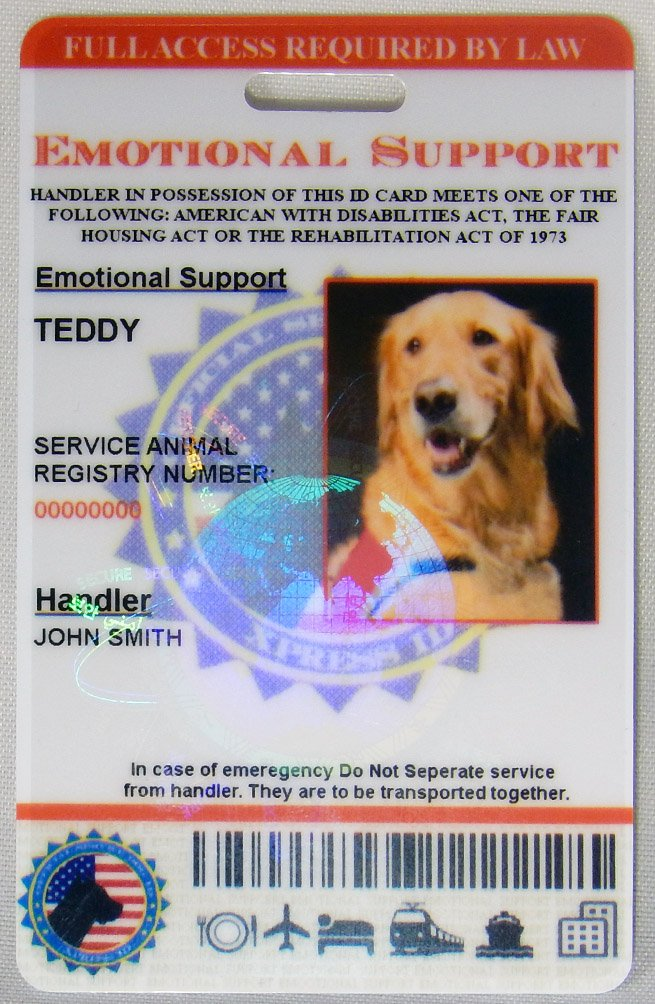 Amazon Xpressid Holographic Emotional Support Dog Id Card