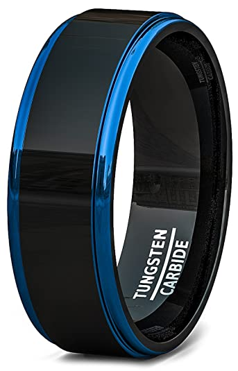 mens wedding band two tone polished black tungsten ring 8mm blue step edge comfort fit