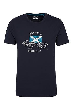 Mountain Warehouse Te Escocesa de Mens de Las montañas - Camiseta fácil del Verano del Cuidado, Camisa