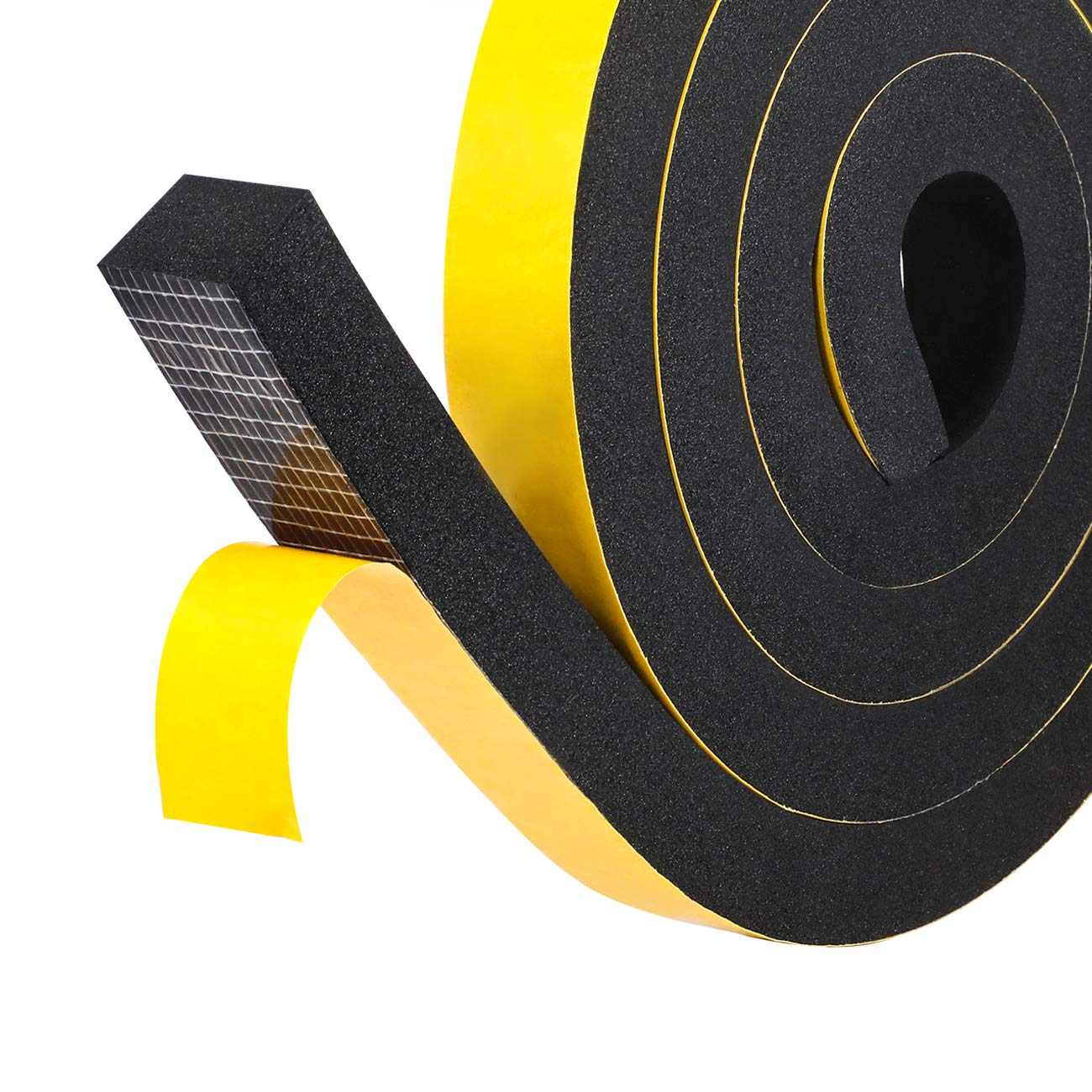 High Density Foam Insulation Tape, Soundproofing Closed Cell Foam Seal Weather Stripping with Adhesive 1'' W X 3/4'' T X 13' L, Black by fowong