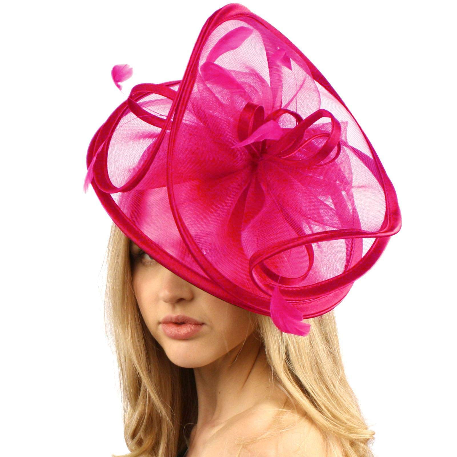 Feathers 3 Tier Layer 2 Tone Headband Fascinator Millinery Cocktail Hat Solid Hot Pink