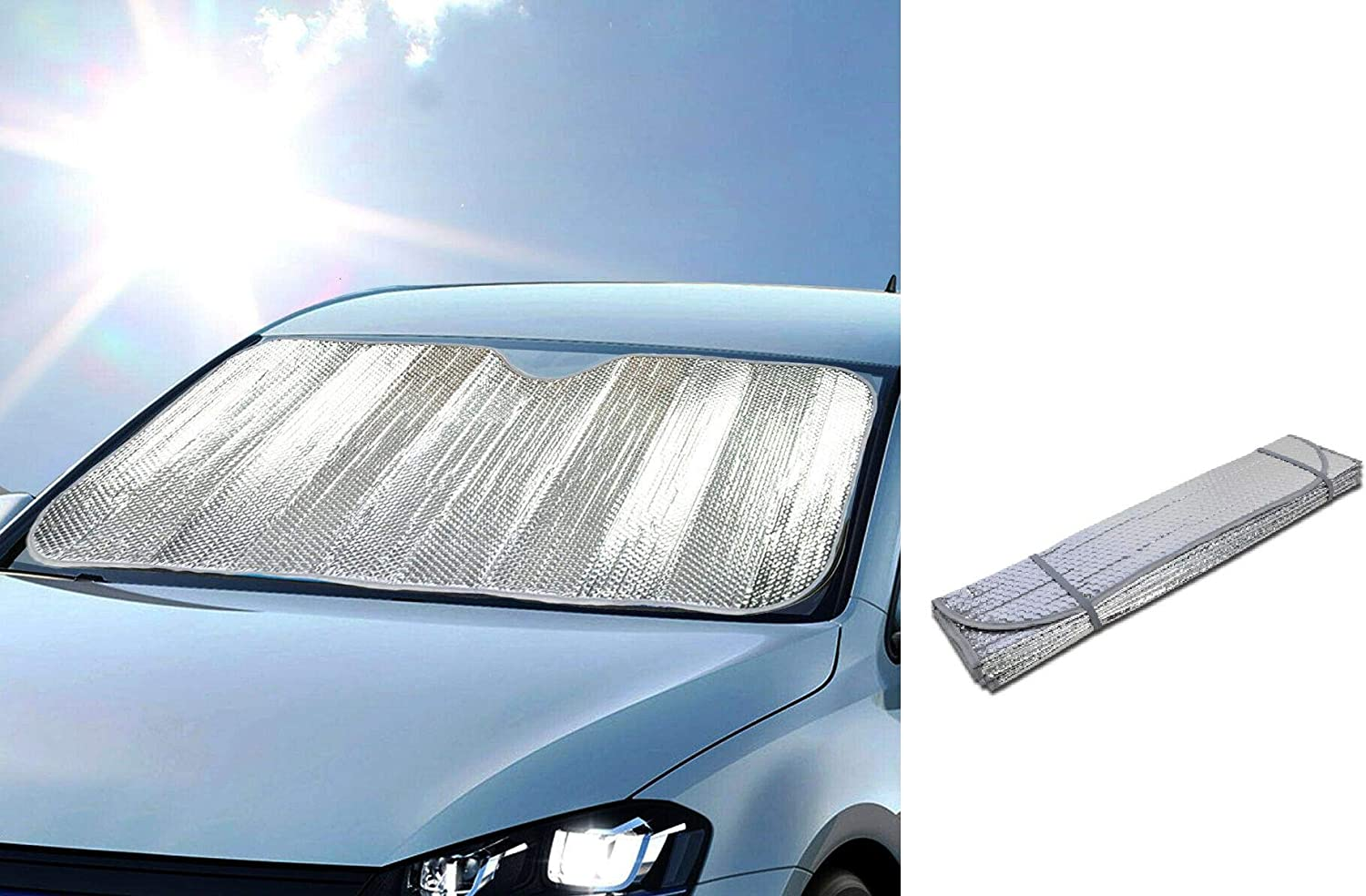 DINY Home /& Style Windshield Sunshade Sun Reflector for Car Foldable UV Ray Reflector Auto Front Window Sun Shade Visor Shield Cover Keeps Vehicle Cool 58 x 23.5