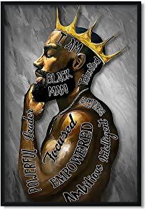 Black King Wall Art, Male African American Canvas Wall Art Black Wall Art African American Men I Am Black Man Poster Afro Black Man Wall Art Pictures for Living Room Bedroom Decor 16x24 Inch Unframed