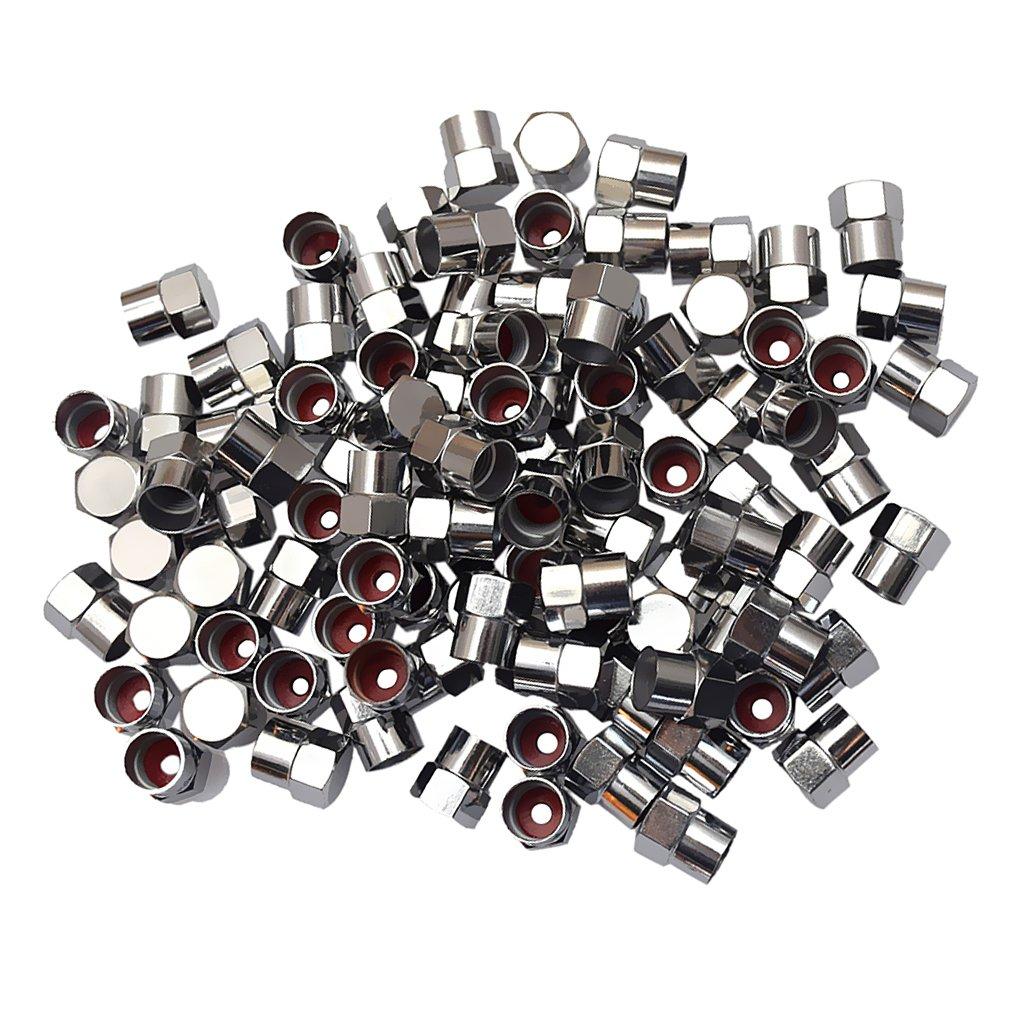 MonkeyJack 100 Pieces Tire/Wheel Air Pressure Stem Valve Caps Plastic Made Chrome Plated Universal