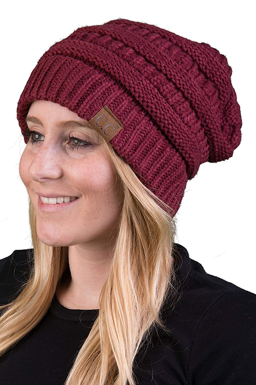 Funky Junque Solid Ribbed Beanie Slouchy Soft Stretch Cable Knit Warm Skull Cap