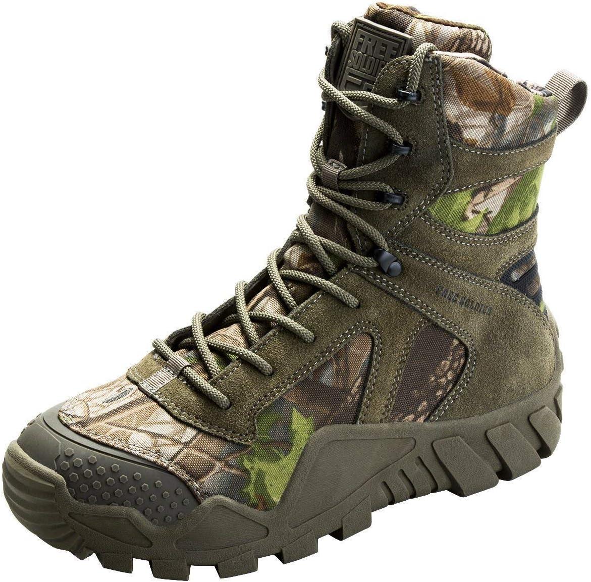 La Jungle Le Travail FREE SOLDIER Bottes de Chasse pour Hommes Bottes Militaires de Haut-Niveau Bottes Tactiques de Combat Chaussures /à Lacets Tout Terrain Souliers pour La Randonn/ée
