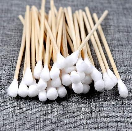 Q&A 1000 unidades de bastoncillos largos de algodón de madera ...