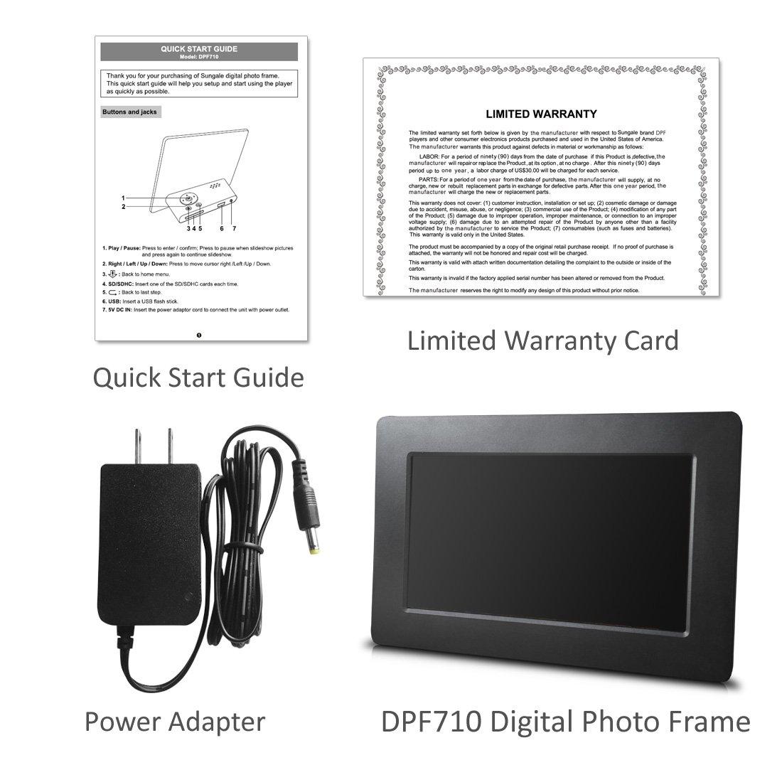 Sungale dpf710 17.8 cm marco de fotos digital con diseño Ultra ...