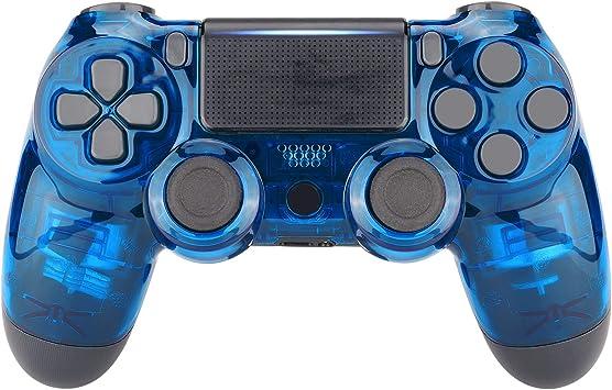 eXtremeRate Carcasa PS4 Funda Delantera Protectora de la Placa Frontal Cubierta reemplazable para Mando de Playstation 4 PS4 Slim Pro (CUH-ZCT2 JDM-040 JDM-050 JDM-055) Transparente Cristal Azul: Amazon.es: Electrónica