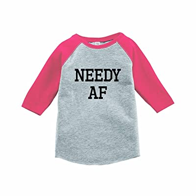 7 ate 9 Apparel Funny Kids Needy AF Baseball Tee Pink