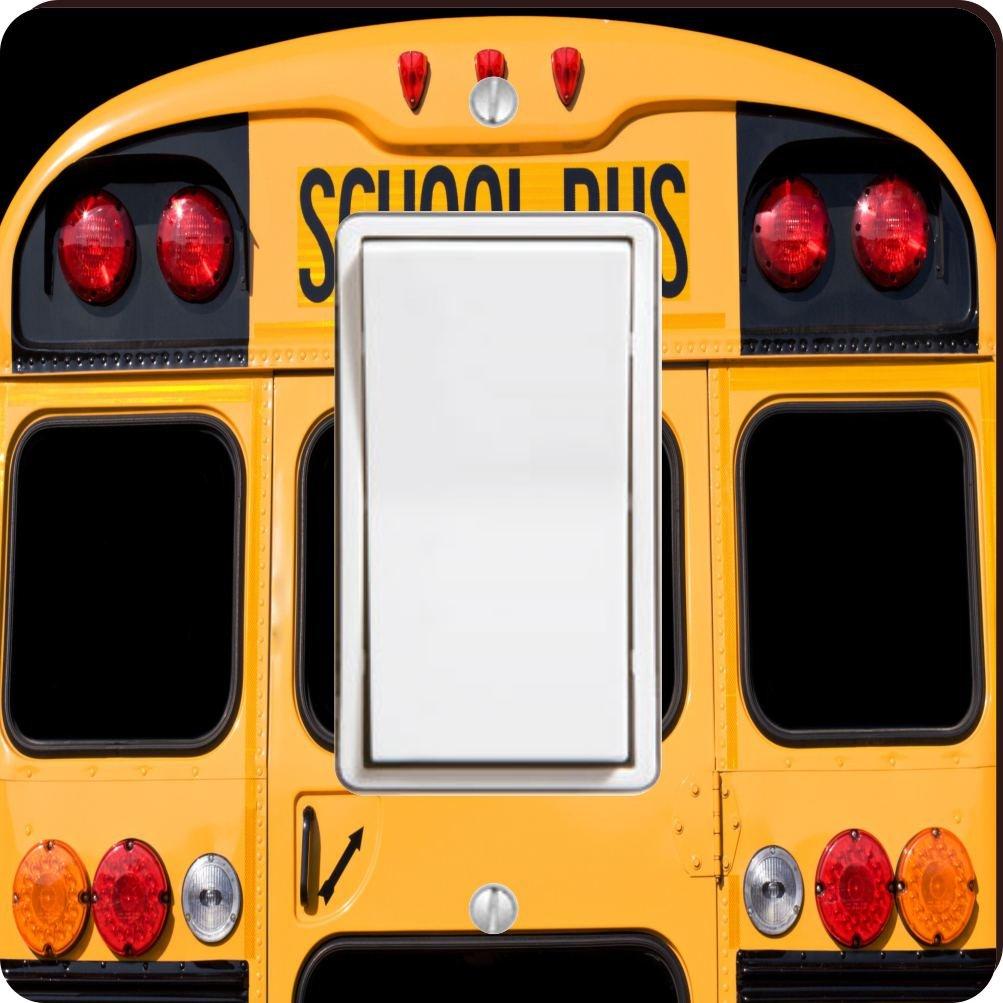 Rikki Knight 8879 Single Rocker Back of A Yellow School bus Design Light Switch Plate