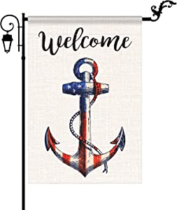 YIWANDA Welcome American Nautical Anchor Garden Flag Vertical Double Sided Stars and Patriotic Strip, 4th of July Memorial Day Independence Day Garden Flag Decoration Yard Outdoor Decor 12.5 x 18 Inch