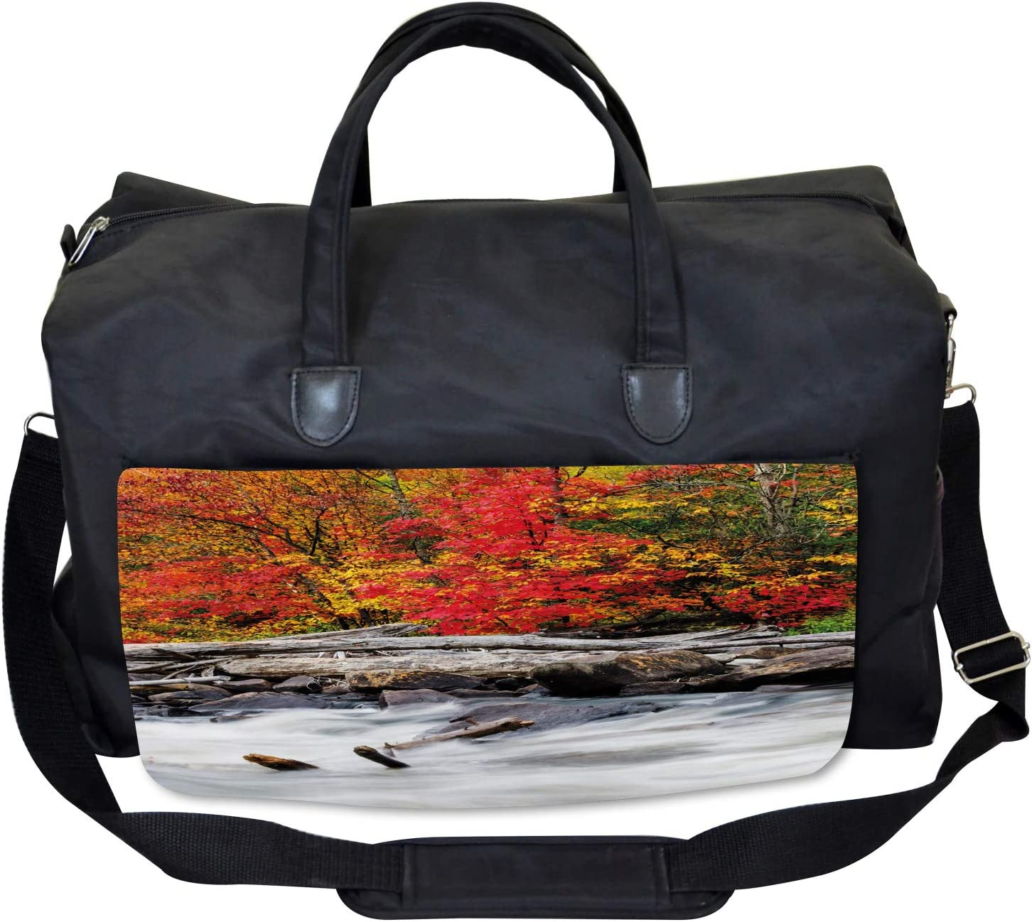 Large Weekender Carry-on Fall Forest Driftwood Ambesonne Autumn Gym Bag