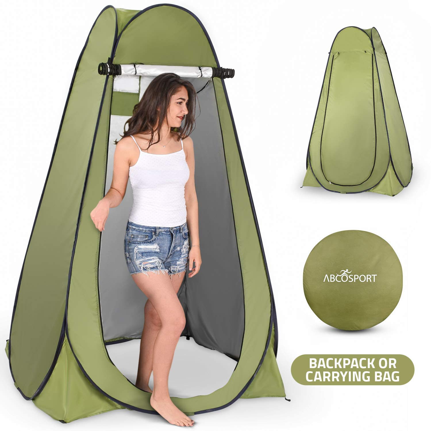Pop Up Privacy Tent - Instant Portable Outdoor Shower Tent, Camp Toilet, Changing Room, Rain Shelter with Window - for Camping and Beach - Easy Set Up, Foldable with Carry Bag - Lightweight and Sturdy by Abco Tech
