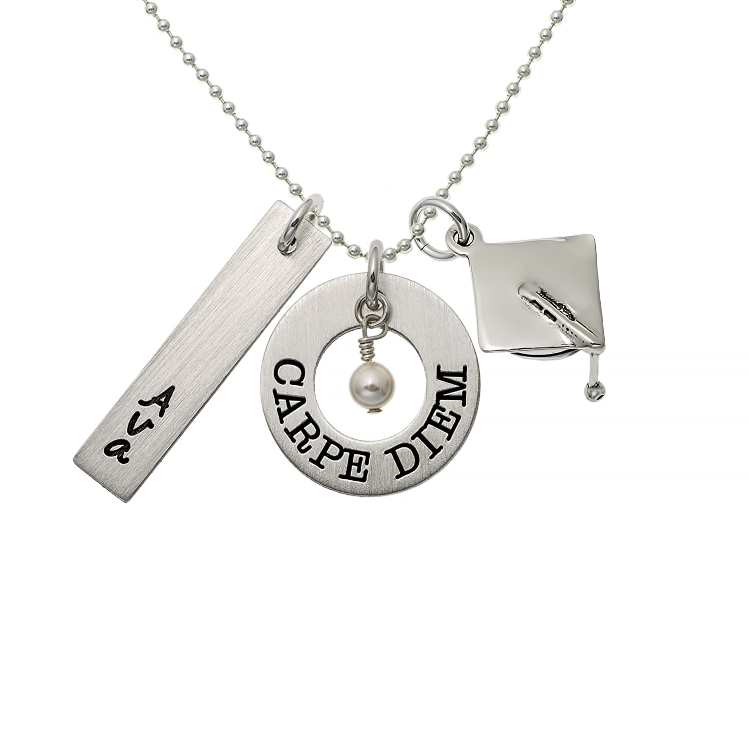Choice of Sterling Silver Chain Great Gift Idea For Your Kids. Customize a Rectangle Charm Perfect Graduation Gift For Your Loved Ones Personalized Carpe Diem Sterling Silver Graduation Necklace
