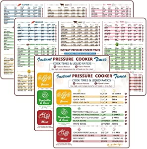 Instant Pot Accessories Cheat Sheet Magnets Set, Electric Pressure Cooker Cook Times Quick Reference Guide Compatible with Instapot, Magnetic Cook Time Stickers and Decals (2 set)