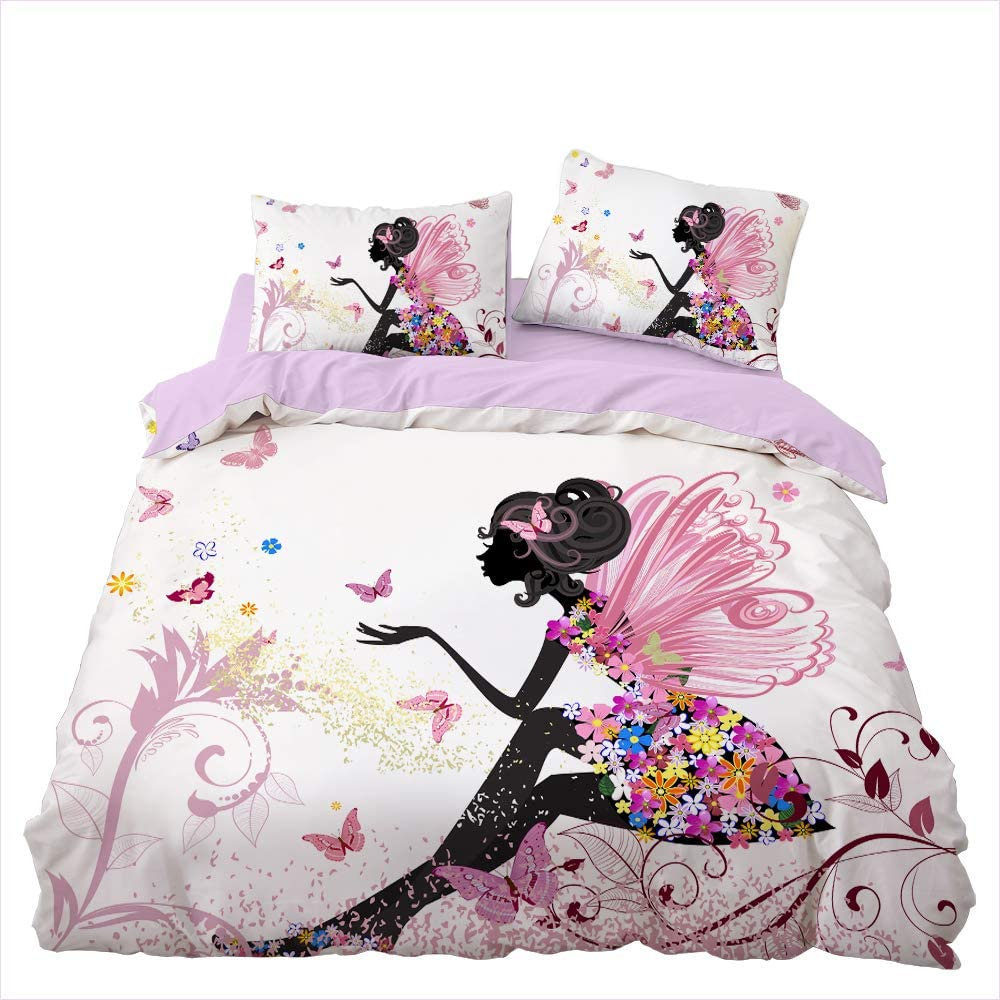 Kibi - Juego de ropa de cama infantil con funda de edredón de microfibra con cierre de cremallera, funda nórdica de 135 x 200 cm y 2 fundas de almohada de 50 x 75 cm para cama individual