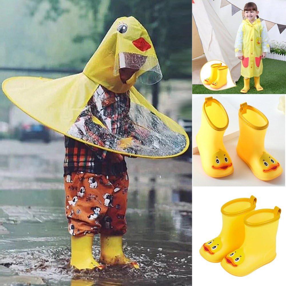 Weiyun Infant Kids Children Baby Cartoon Duck Rubber Waterproof Warm Boots Rain Shoes