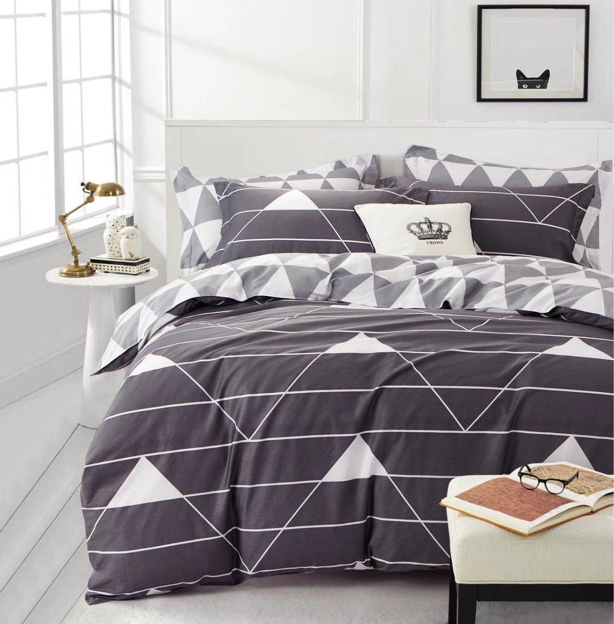 Minimal Style Geometric Shapes Duvet Quilt Cover Scandinavian Midcentury Modern Geo Print 100-percent Cotton Bedding Set Soft Casual Simplistic Triangle Stripes Chevron Pattern (King, Grey)