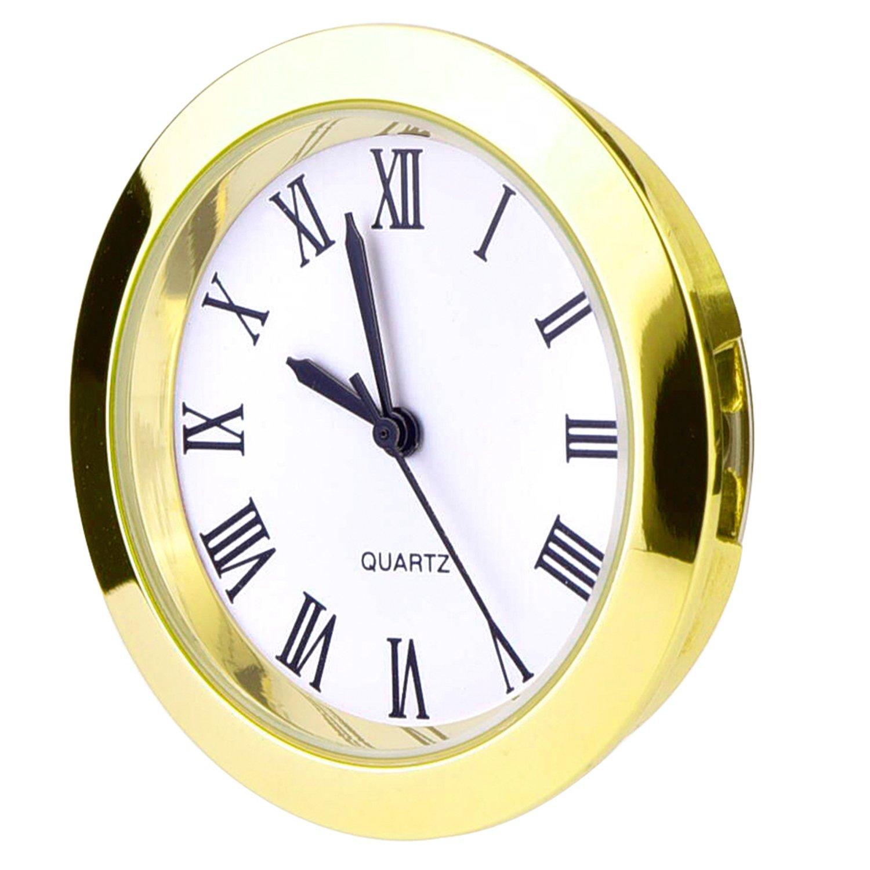 Gold Bezel Round Quartz Clock Insert with Roman Numerals Fit 35 mm Diameter Hole 37 mm Hicarer 1-1//2 Inch