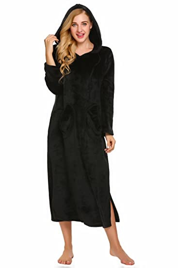 Goodfans Women Plush Fleece Hooded Long Robe Warm Thick Solid Spa ... 2193ce837