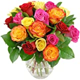 Clare Florist Colourful Rainbow Roses Bouquet with FREE NEXT DAY UK DELIVERY - Fresh Flowers Perfect for Any Occasion