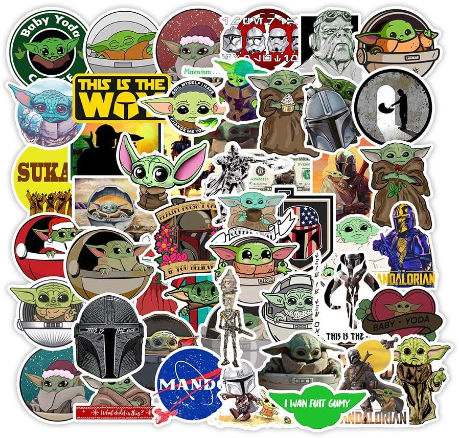 50Pcs Baby Yoda Stickers Mandalorian merchandise Vinyl Decals Snowboard Laptop