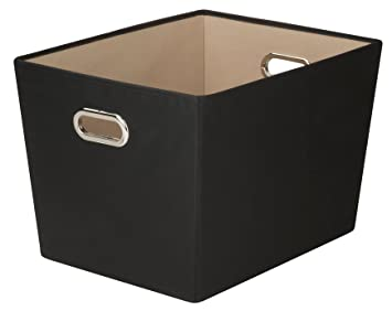 Honey Can Do Decorative Storage Bin With Chrome Handles, Large, Black