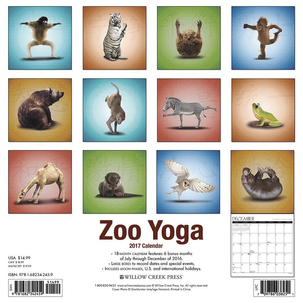 Zoo Yoga 2017 Wall Calendar: Amazon.es: Willow Creek Press ...