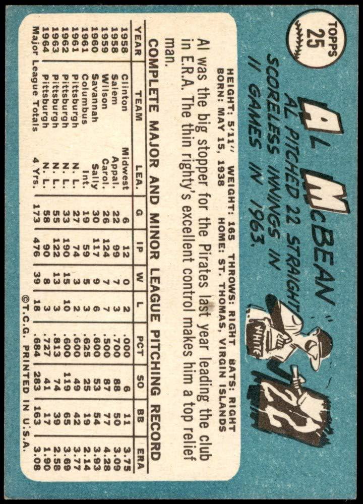 EX Pirates Baseball Card Deans Cards 5 1965 Topps # 25 Al McBean Pittsburgh Pirates