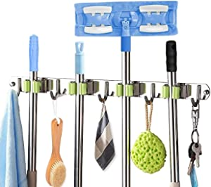 Broom Holder Wall Mount Stainless Steel Mop and Broom Holder Wall Mounted Storage Organizer commercial heavy duty Tool Organizers with 4 Racks 5 Hooks, for Kitchen/Laundry Room/Closet/Bathroom/Garage