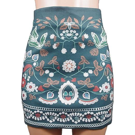 Wildeal Moda Mujer Alta Cintura Floral Impreso Corto Cremallera a ...