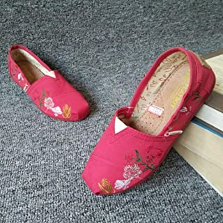 YOPAIYA Espadrilles Plat Loafers Femmes Mode Fleur Rouge Broderie Flats Dames Toile Mocassins Lazy Flats Casual Léger Chaussures De Marche Respirant