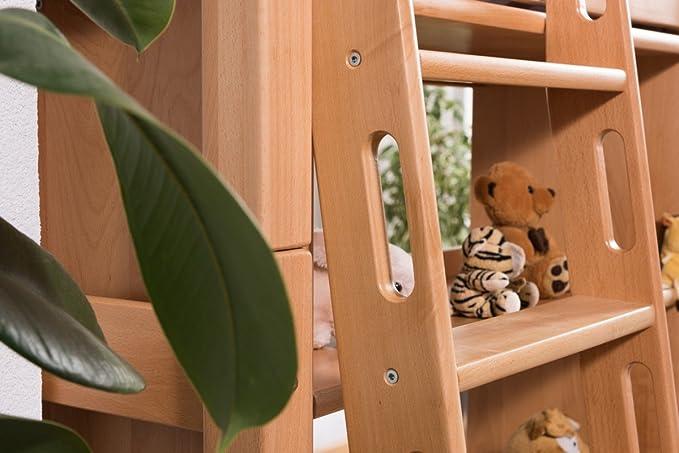 Kinderbett Etagenbett Pauli Buche Vollholz Massiv Natur Mit Regal Und  Rutsche Inkl. Rollrost   90 X 200 Cm, Teilbar: Amazon.de: Baumarkt