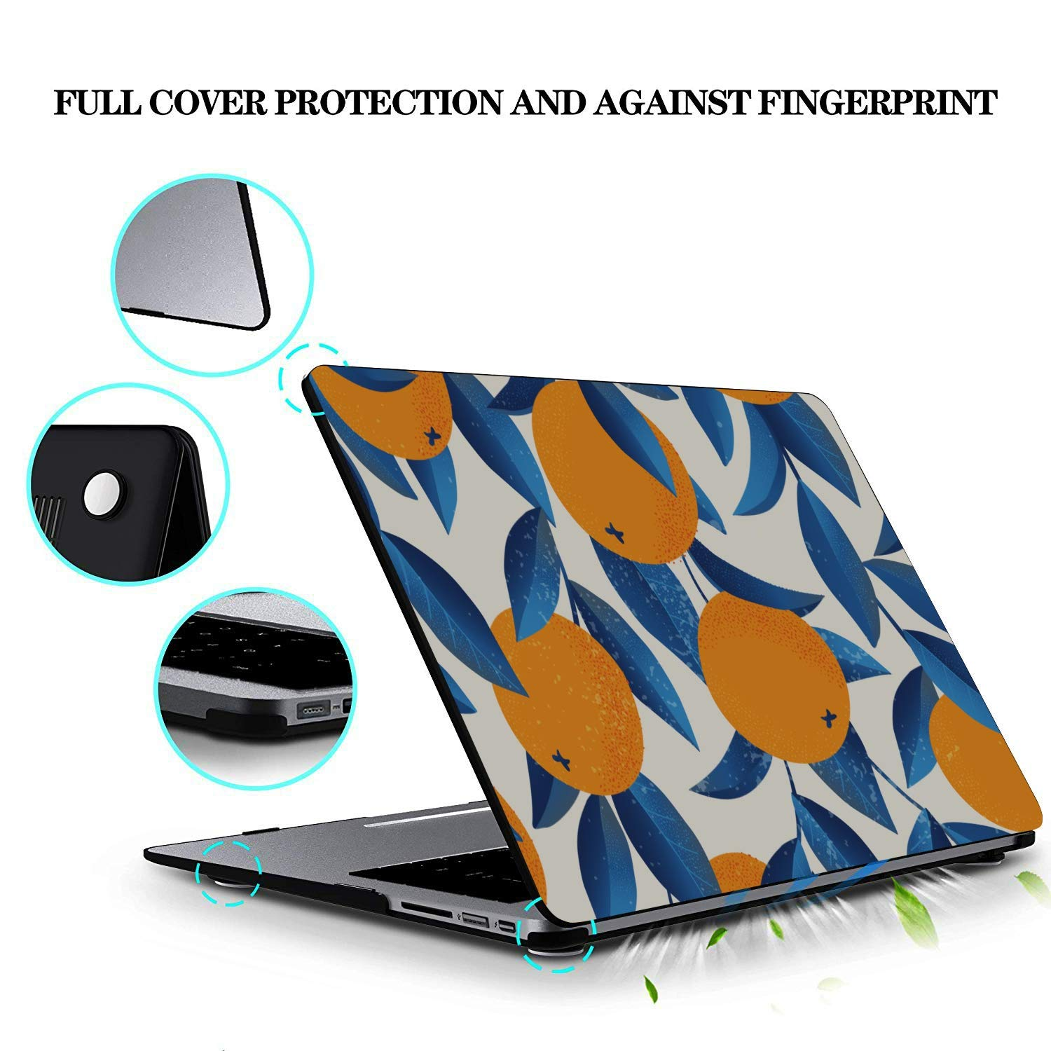MacBook 15 Case Summer Retro Sweet Sour Orange Tree Plastic Hard Shell Compatible Mac Air 11 Pro 13 15 13 Inch MacBook Case Protection for MacBook 2016-2019 Version