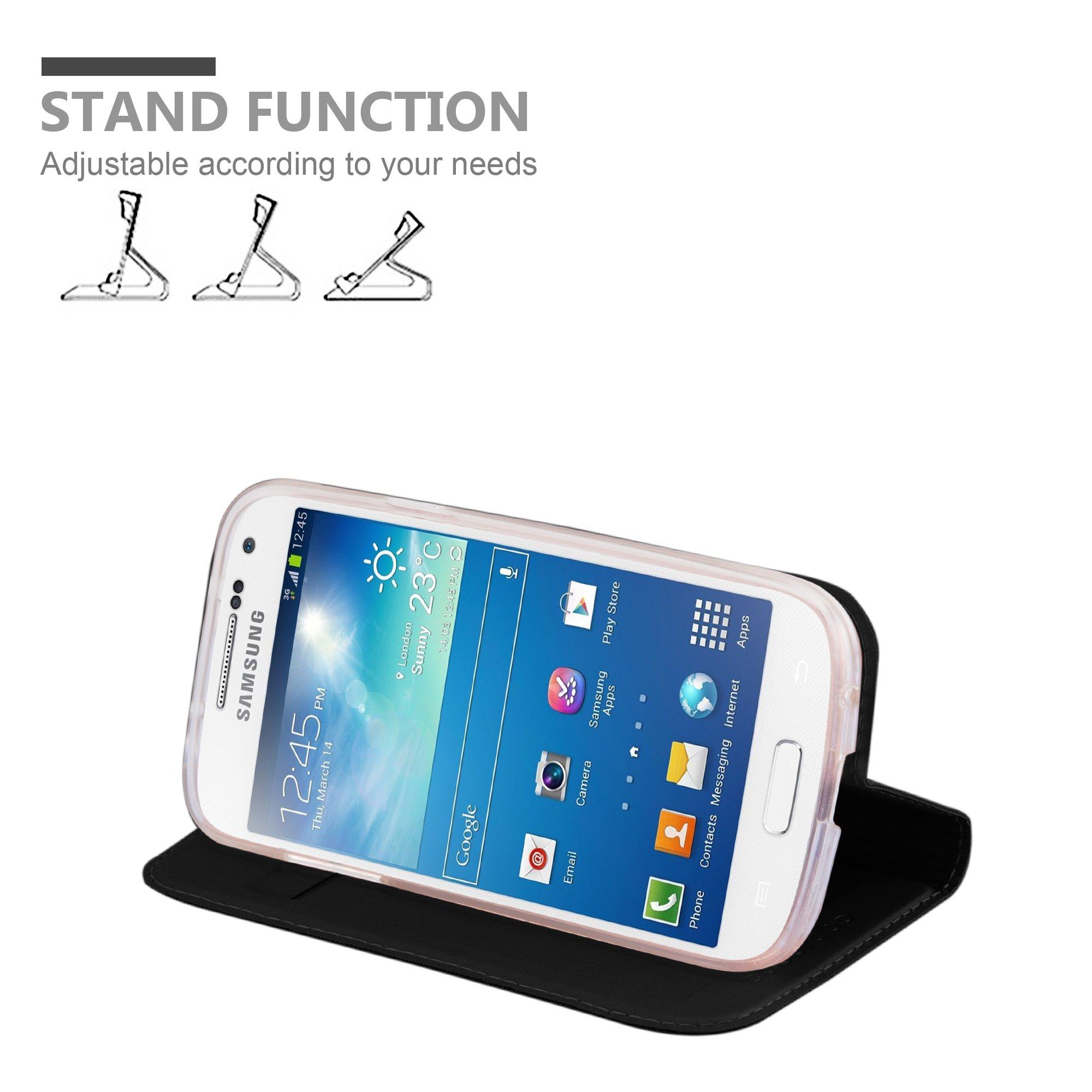 Samsung Galaxy S4 MINI Hülle in SCHWARZ von Cadorabo - Handy-Hülle im Metallic Look mit unsichtbarem Magnet-verschluss und Karten-Fach Case Cover Schutz-hülle Etui Tasche Book Klapp Style