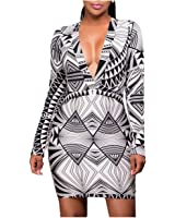 Eloise Isabel Fashion robe preto branco gráfico impressão mangas compridas bodycon dress vestidos femininos lc22859