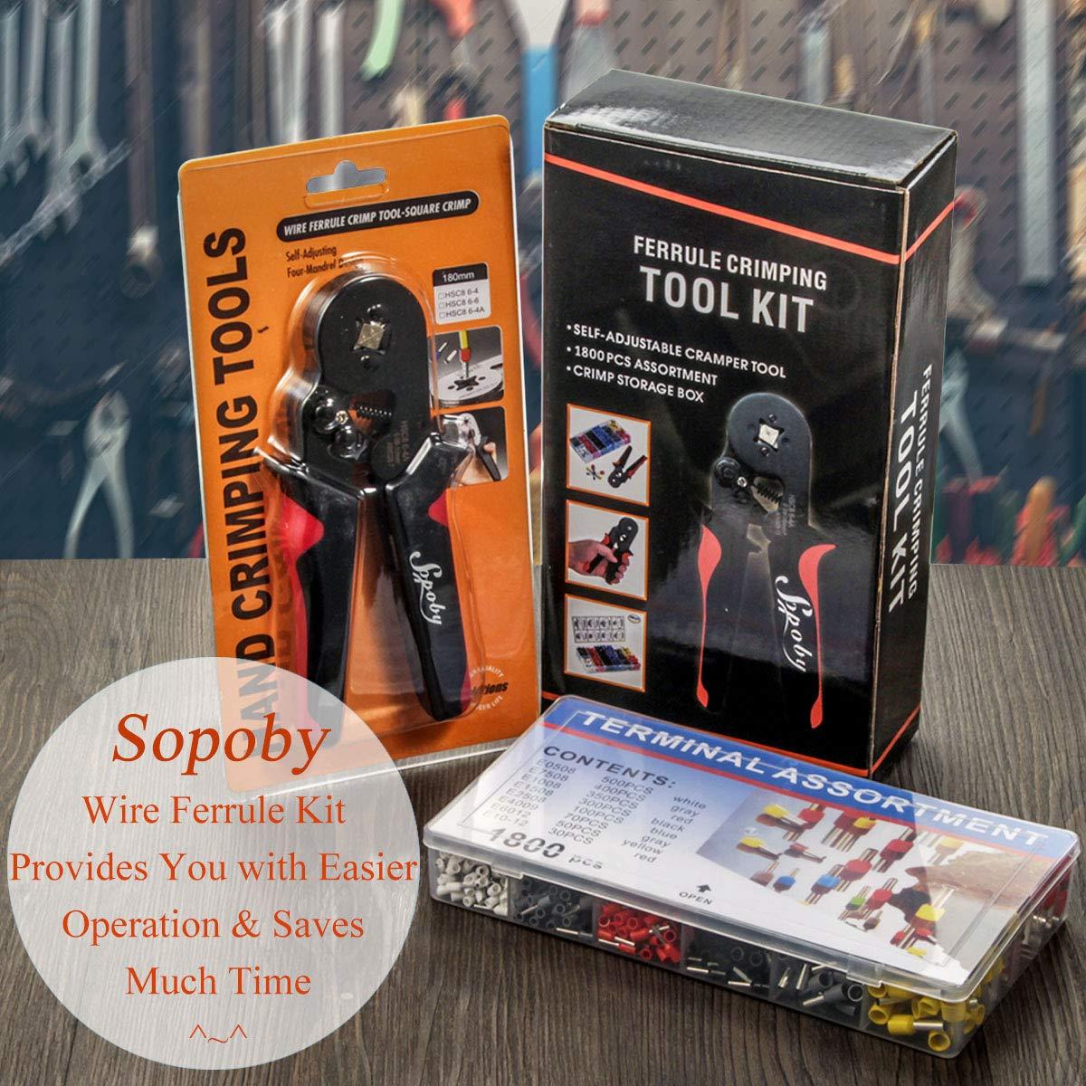 Ferrule Crimping Tool Kit 0.08-10mm/² Sopoby Ferrule Crimper Plier w// 1800pcs Wire Ferrules Wire Ends Terminals AWG 28-7