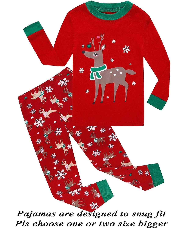 Little Pajamas Christmas Reindeer Little Boys Girls Child Pajamas Sets 100% Cotton Toddler PJS 66redgraydeer